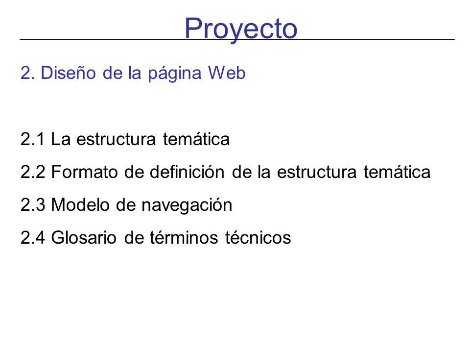 Proyecto 2. Diseño de la página Web 2.1 La estructura temática 2.2 Formato de definición de la estructura temática 2.3 Modelo de navegación 2.4 Glosar