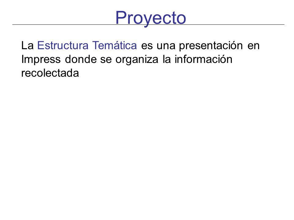 Proyecto La Estructura Temática es una presentación en Impress donde se organiza la información recolectada