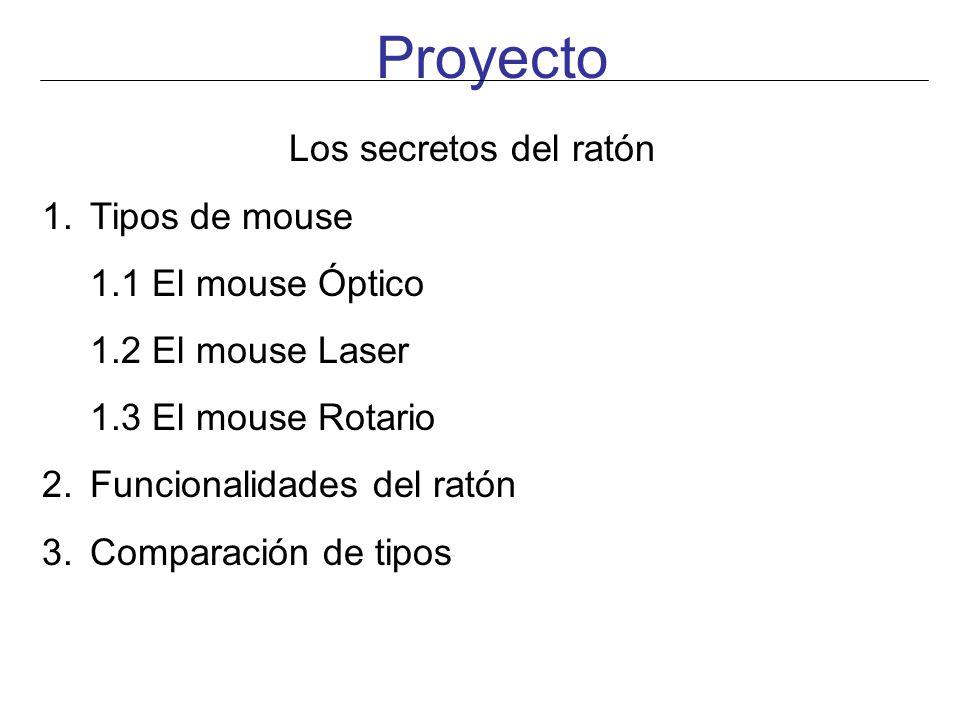 Proyecto Los secretos del ratón 1.Tipos de mouse 1.1 El mouse Óptico 1.2 El mouse Laser 1.3 El mouse Rotario 2.Funcionalidades del ratón 3.Comparación