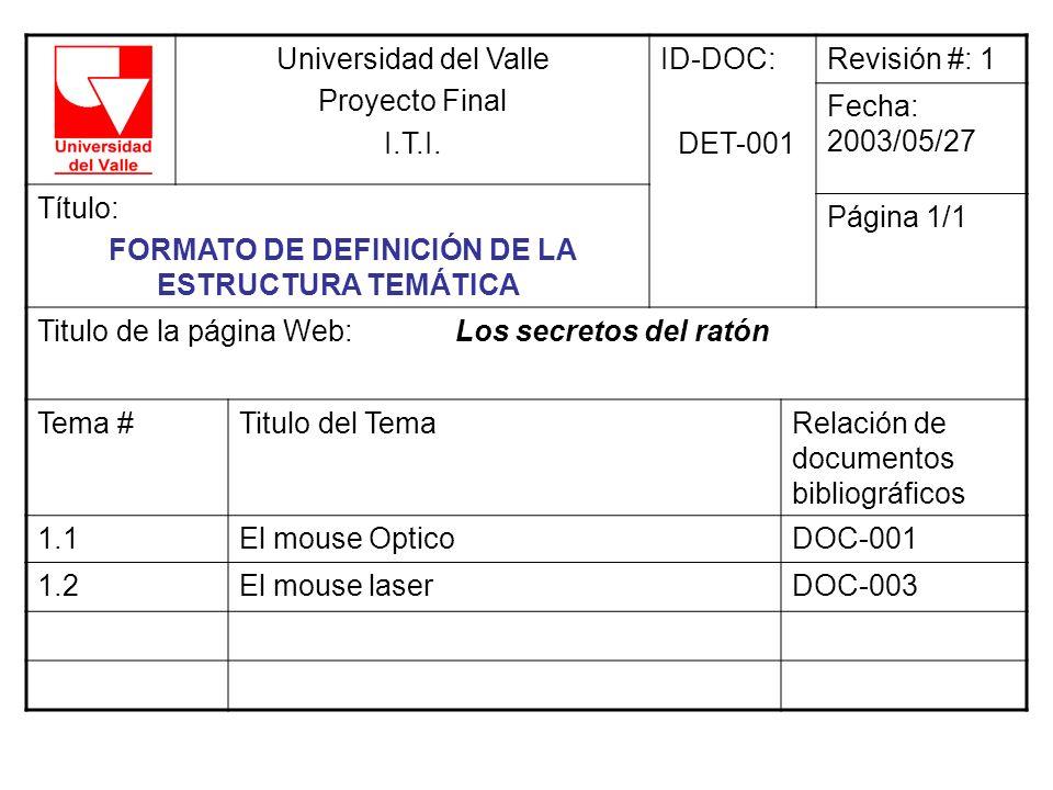 Universidad del Valle Proyecto Final I.T.I. ID-DOC: DET-001 Revisión #: 1 Fecha: 2003/05/27 Título: FORMATO DE DEFINICIÓN DE LA ESTRUCTURA TEMÁTICA Pá