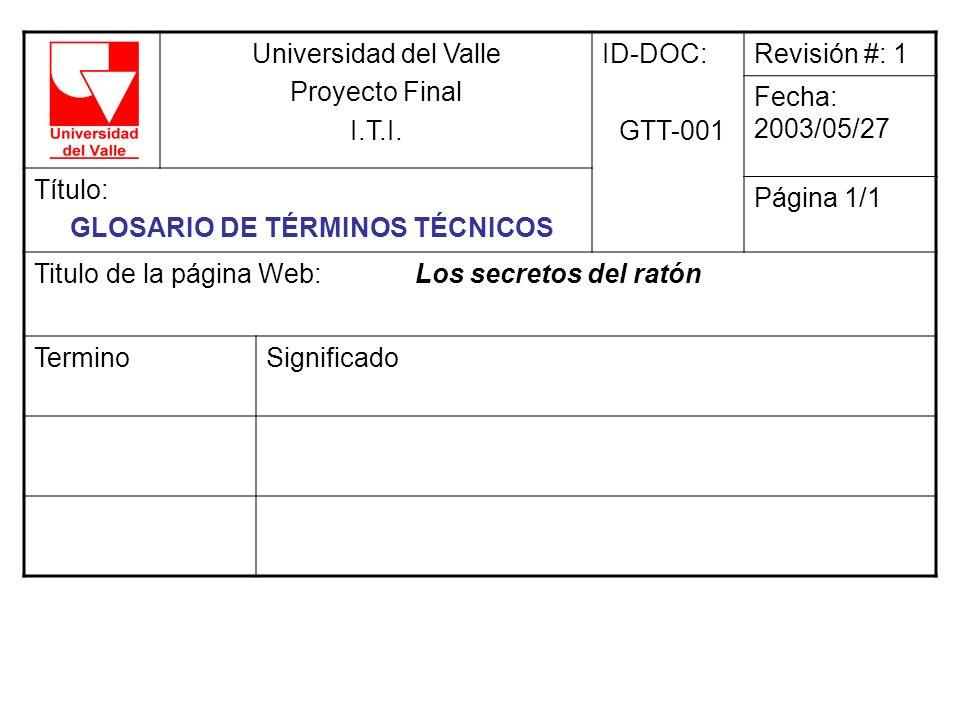 Universidad del Valle Proyecto Final I.T.I. ID-DOC: GTT-001 Revisión #: 1 Fecha: 2003/05/27 Título: GLOSARIO DE TÉRMINOS TÉCNICOS Página 1/1 Titulo de