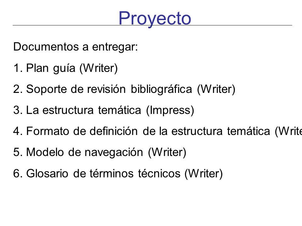 Proyecto Documentos a entregar: 1. Plan guía (Writer) 2. Soporte de revisión bibliográfica (Writer) 3. La estructura temática (Impress) 4. Formato de
