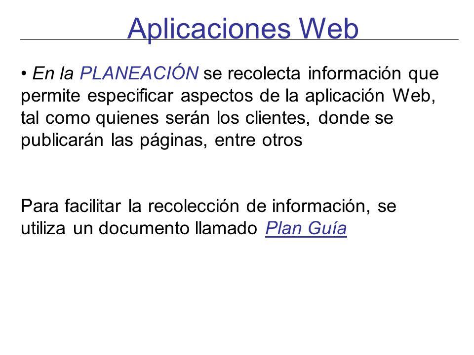 Aplicaciones Web En la PLANEACIÓN se recolecta información que permite especificar aspectos de la aplicación Web, tal como quienes serán los clientes,