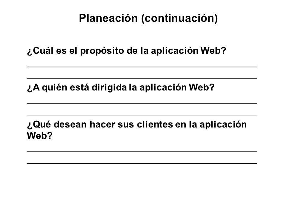 Planeación (continuación) ¿Cuál es el propósito de la aplicación Web? ___________________________________________ ____________________________________