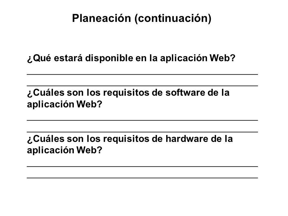 Planeación (continuación) ¿Qué estará disponible en la aplicación Web? ___________________________________________ ___________________________________