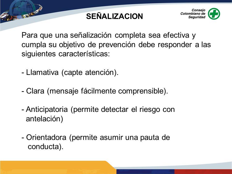 SEÑALIZACION Para que una señalización completa sea efectiva y cumpla su objetivo de prevención debe responder a las siguientes características: - Lla