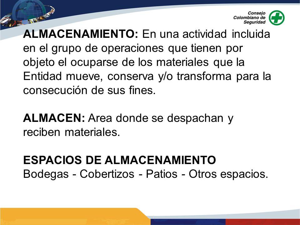 ALMACENAMIENTO: En una actividad incluida en el grupo de operaciones que tienen por objeto el ocuparse de los materiales que la Entidad mueve, conserv