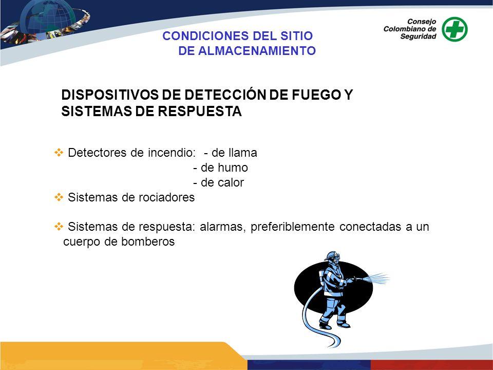 DISPOSITIVOS DE DETECCIÓN DE FUEGO Y SISTEMAS DE RESPUESTA Detectores de incendio: - de llama - de humo - de calor Sistemas de rociadores Sistemas de