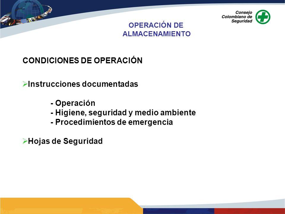 OPERACIÓN DE ALMACENAMIENTO CONDICIONES DE OPERACIÓN Instrucciones documentadas - Operación - Higiene, seguridad y medio ambiente - Procedimientos de