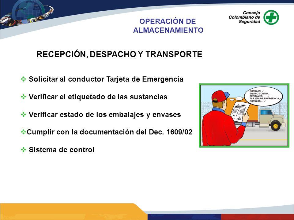 RECEPCIÓN, DESPACHO Y TRANSPORTE Solicitar al conductor Tarjeta de Emergencia Verificar el etiquetado de las sustancias Verificar estado de los embala