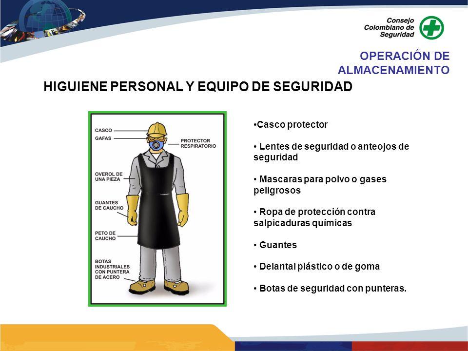 HIGUIENE PERSONAL Y EQUIPO DE SEGURIDAD Casco protector Lentes de seguridad o anteojos de seguridad Mascaras para polvo o gases peligrosos Ropa de pro