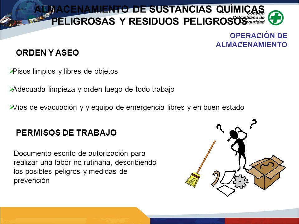 ORDEN Y ASEO Pisos limpios y libres de objetos Adecuada limpieza y orden luego de todo trabajo Vías de evacuación y y equipo de emergencia libres y en
