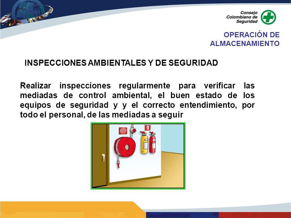INSPECCIONES AMBIENTALES Y DE SEGURIDAD Realizar inspecciones regularmente para verificar las mediadas de control ambiental, el buen estado de los equ