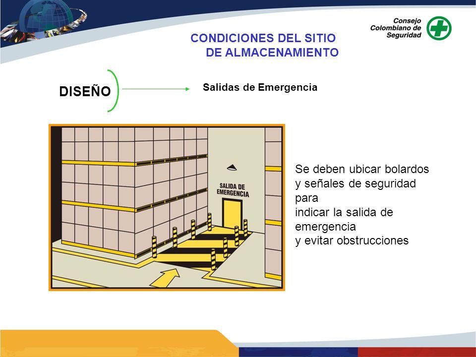 DISEÑO Salidas de Emergencia Se deben ubicar bolardos y señales de seguridad para indicar la salida de emergencia y evitar obstrucciones CONDICIONES D