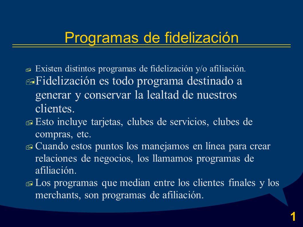 1 Programas de fidelización Existen distintos programas de fidelización y/o afiliación.