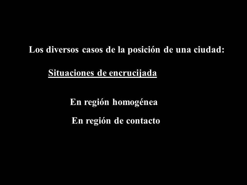 Los diversos casos de la posición de una ciudad: Situaciones de encrucijada En región homogénea En región de contacto