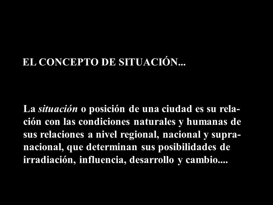 EL CONCEPTO DE SITUACIÓN... La situación o posición de una ciudad es su rela- ción con las condiciones naturales y humanas de sus relaciones a nivel r