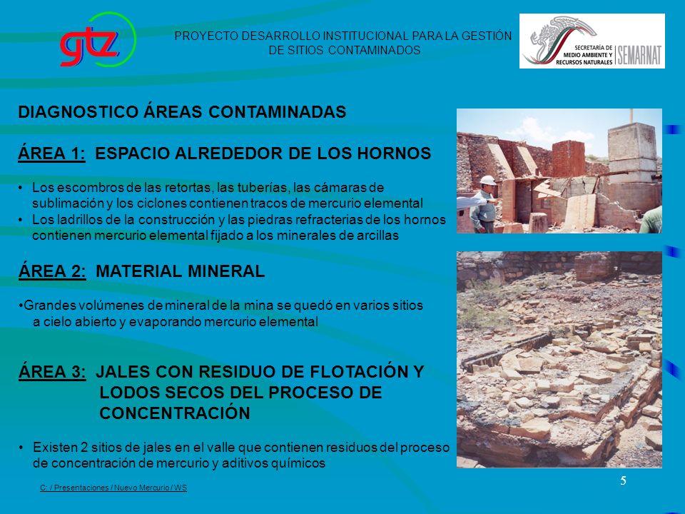5 DIAGNOSTICO ÁREAS CONTAMINADAS ÁREA 1: ESPACIO ALREDEDOR DE LOS HORNOS Los escombros de las retortas, las tuberías, las cámaras de sublimación y los