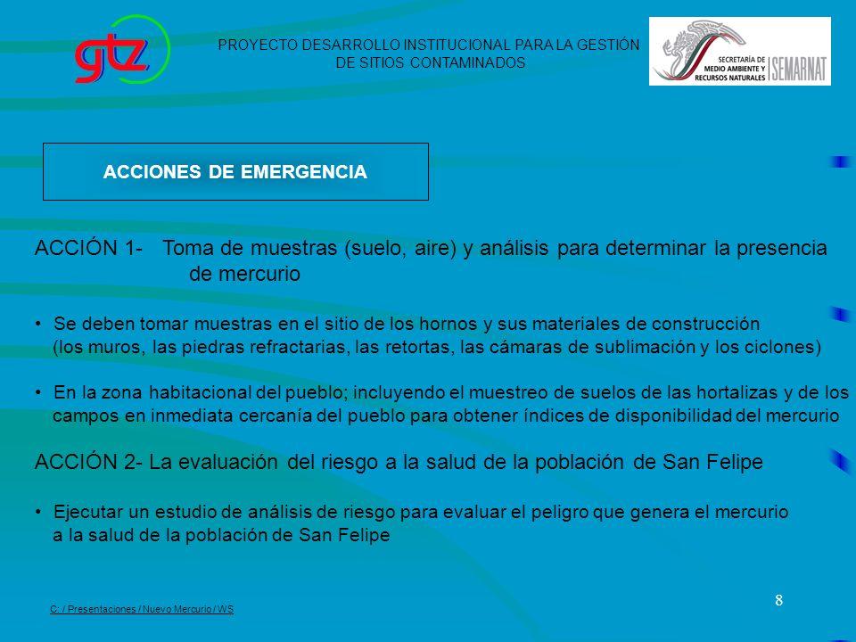 8 ACCIONES DE EMERGENCIA PROYECTO DESARROLLO INSTITUCIONAL PARA LA GESTIÓN DE SITIOS CONTAMINADOS C: / Presentaciones / Nuevo Mercurio / WS ACCIÓN 1-