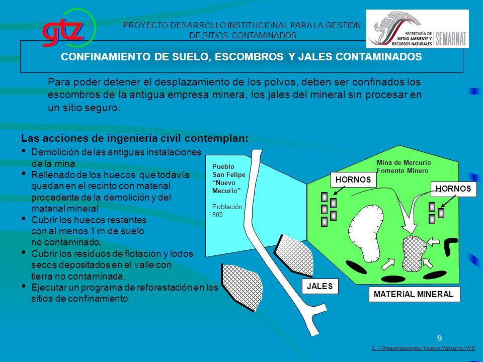 9 CONFINAMIENTO DE SUELO, ESCOMBROS Y JALES CONTAMINADOS Para poder detener el desplazamiento de los polvos, deben ser confinados los escombros de la
