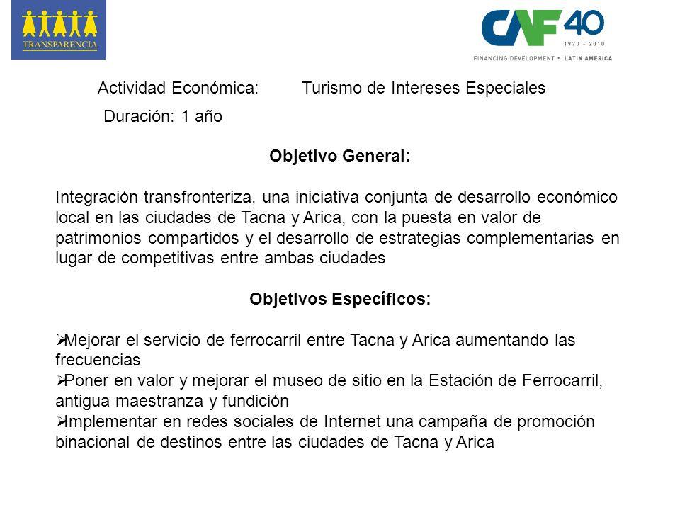 Actividad Económica:Turismo de Intereses Especiales Duración: 1 año Objetivo General: Integración transfronteriza, una iniciativa conjunta de desarrol