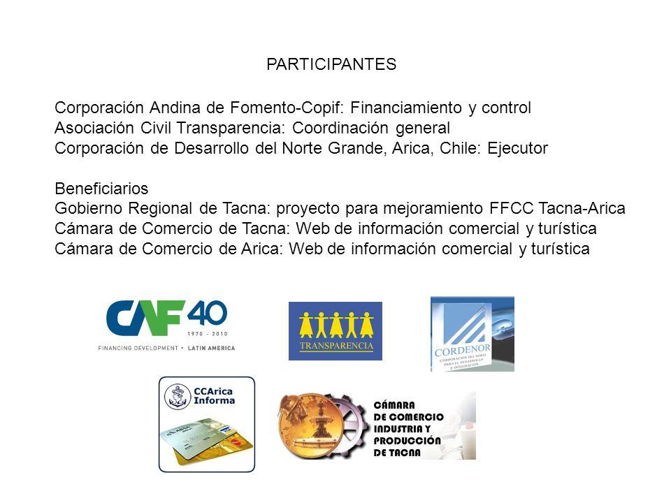 PARTICIPANTES Corporación Andina de Fomento-Copif: Financiamiento y control Asociación Civil Transparencia: Coordinación general Corporación de Desarr