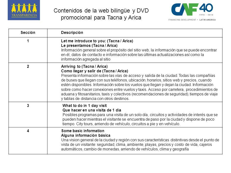 SecciónDescripción 1Let me introduce to you: (Tacna / Arica) Le presentamos (Tacna / Arica) Información general sobre el propósito del sitio web, la i