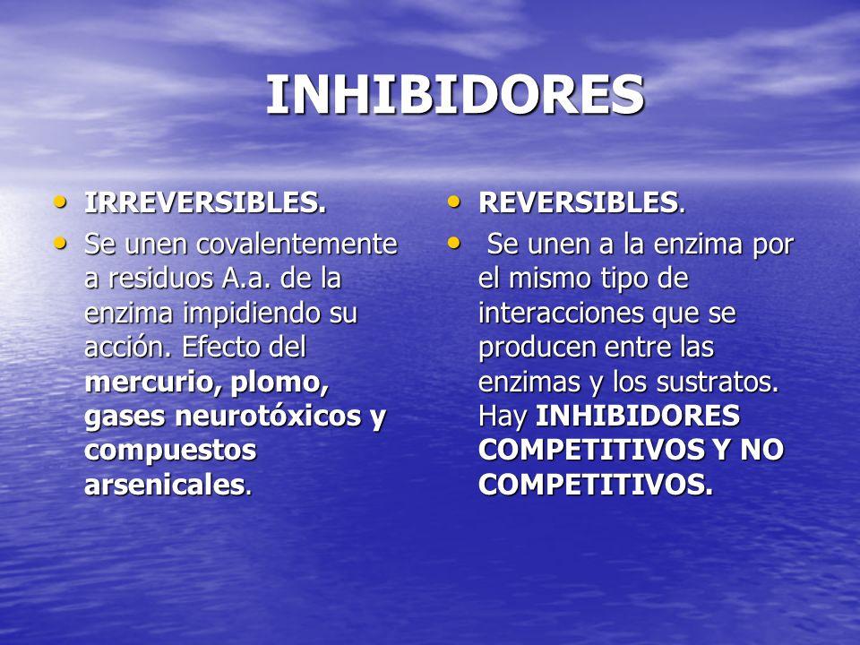 INHIBIDORES INHIBIDORES IRREVERSIBLES. IRREVERSIBLES. Se unen covalentemente a residuos A.a. de la enzima impidiendo su acción. Efecto del mercurio, p