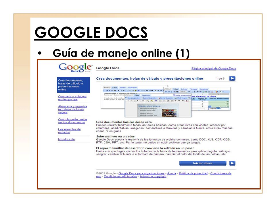 Guía de manejo online (1) GOOGLE DOCS