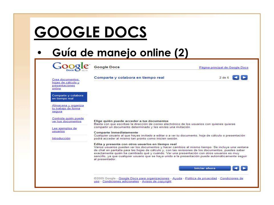 Guía de manejo online (2) GOOGLE DOCS
