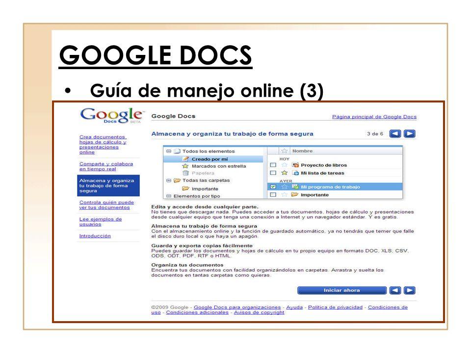 Guía de manejo online (3) GOOGLE DOCS