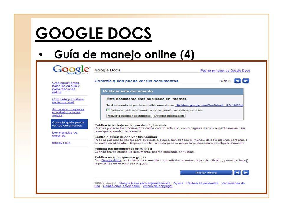 Guía de manejo online (4) GOOGLE DOCS