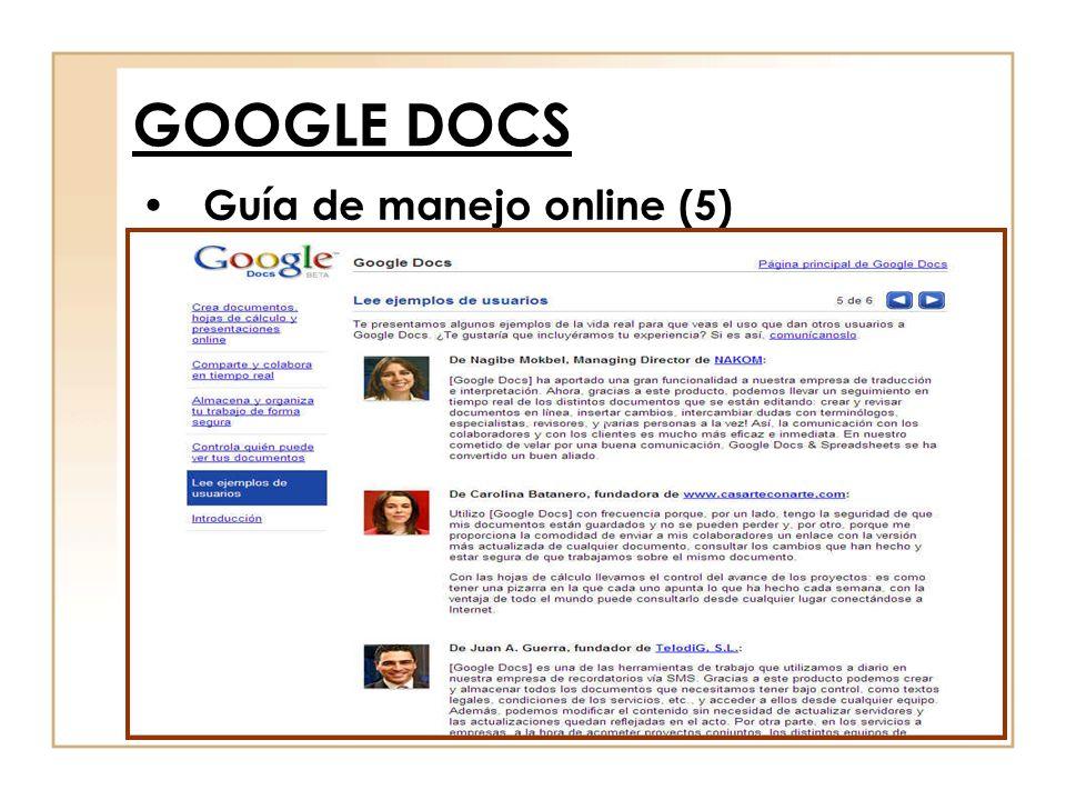 Guía de manejo online (5) GOOGLE DOCS