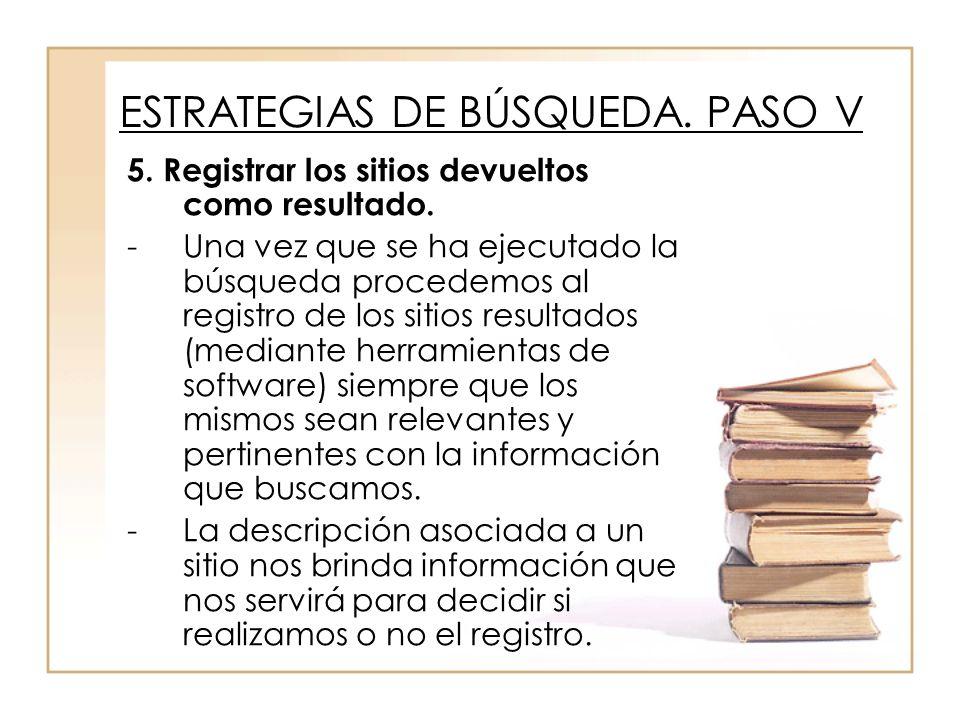 5. Registrar los sitios devueltos como resultado.