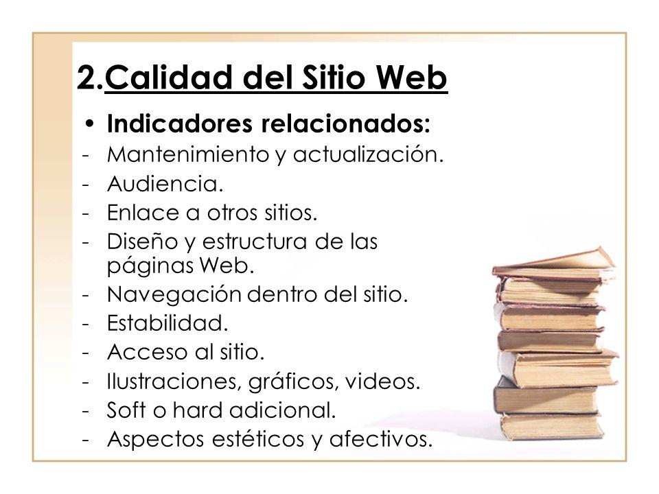 2.Calidad del Sitio Web Indicadores relacionados: -Mantenimiento y actualización. -Audiencia. -Enlace a otros sitios. -Diseño y estructura de las pági