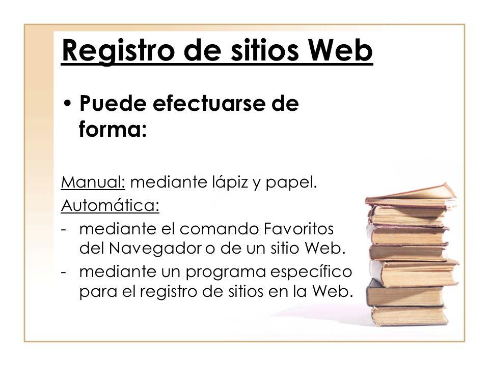 Registro de sitios Web Puede efectuarse de forma: Manual: mediante lápiz y papel. Automática: -mediante el comando Favoritos del Navegador o de un sit