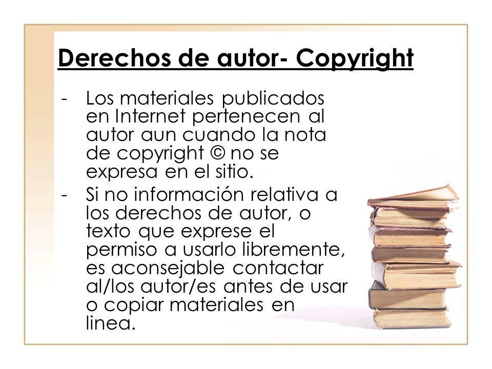 Derechos de autor- Copyright -Los materiales publicados en Internet pertenecen al autor aun cuando la nota de copyright © no se expresa en el sitio. -