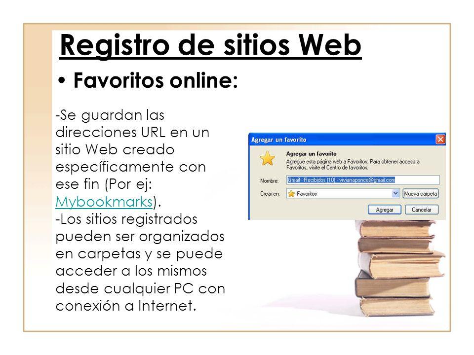 Registro de sitios Web Favoritos online: -Se guardan las direcciones URL en un sitio Web creado específicamente con ese fin (Por ej: Mybookmarks). Myb