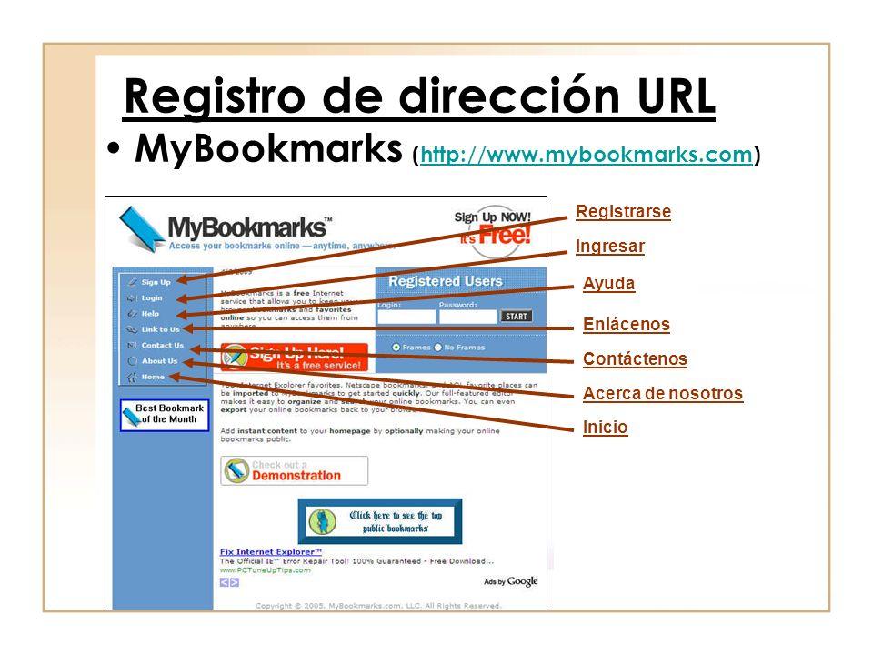 Registro de dirección URL MyBookmarks (http://www.mybookmarks.com)http://www.mybookmarks.com Registrarse Ingresar Ayuda Enlácenos Contáctenos Acerca de nosotros Inicio