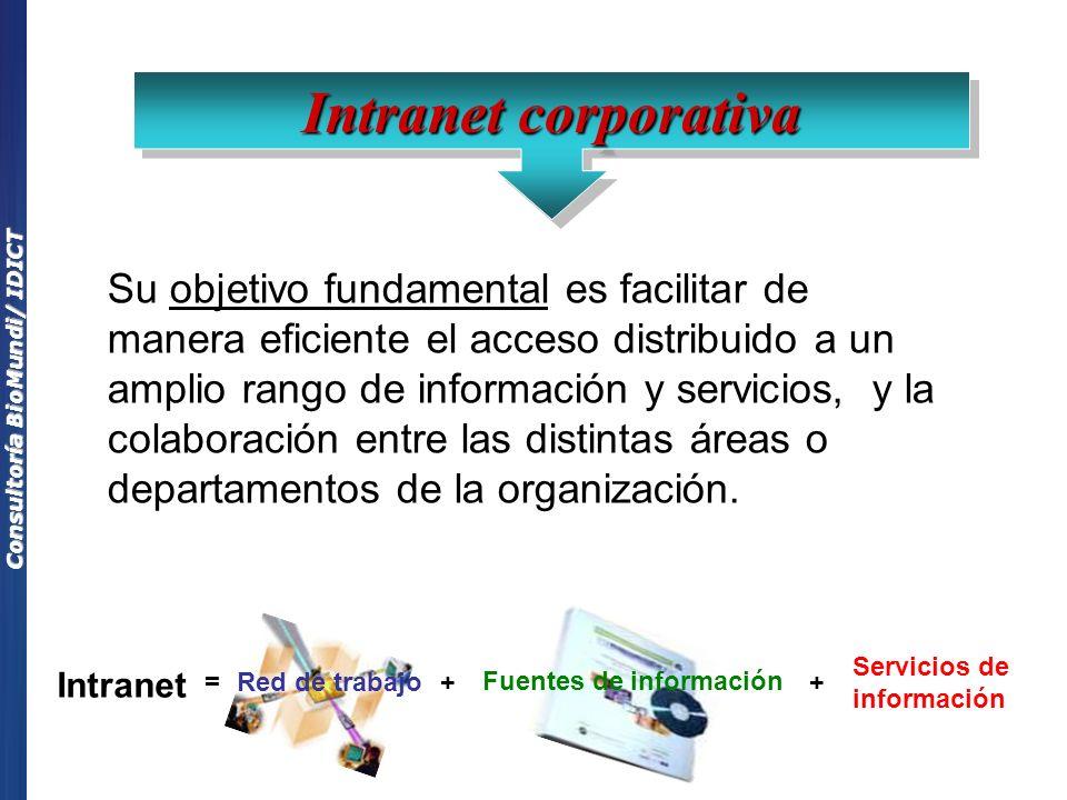 Consultoría BioMundi/ IDICT Su objetivo fundamental es facilitar de manera eficiente el acceso distribuido a un amplio rango de información y servicios, y la colaboración entre las distintas áreas o departamentos de la organización.