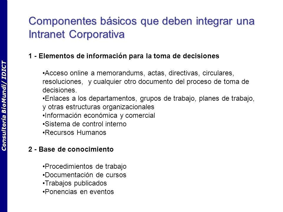Consultoría BioMundi/ IDICT Componentes básicos que deben integrar una Intranet Corporativa 1 - Elementos de información para la toma de decisiones Acceso online a memorandums, actas, directivas, circulares, resoluciones, y cualquier otro documento del proceso de toma de decisiones.