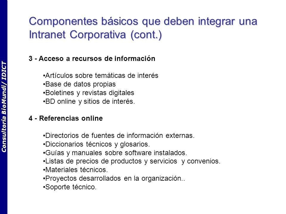 Consultoría BioMundi/ IDICT Componentes básicos que deben integrar una Intranet Corporativa (cont.) 3 - Acceso a recursos de información Artículos sobre temáticas de interés Base de datos propias Boletines y revistas digitales BD online y sitios de interés.