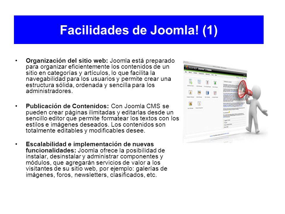 Facilidades de Joomla! (1) Organización del sitio web: Joomla está preparado para organizar eficientemente los contenidos de un sitio en categorías y