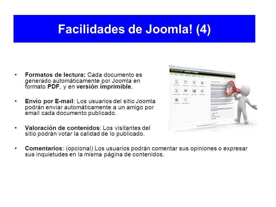 Facilidades de Joomla! (4) Formatos de lectura: Cada documento es generado automáticamente por Joomla en formato PDF, y en versión imprimible. Envío p