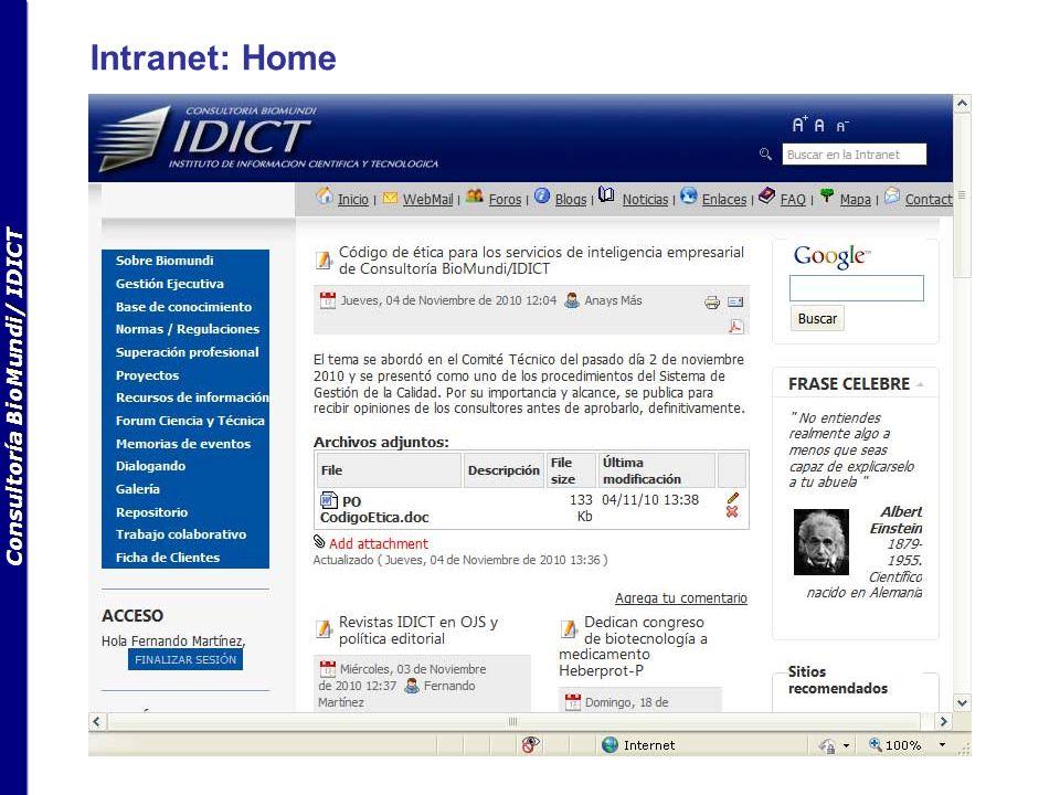 Consultoría BioMundi/ IDICT Intranet: Sobre BioMundi