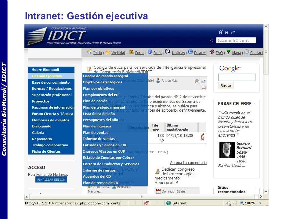Consultoría BioMundi/ IDICT Intranet: Gestión ejecutiva