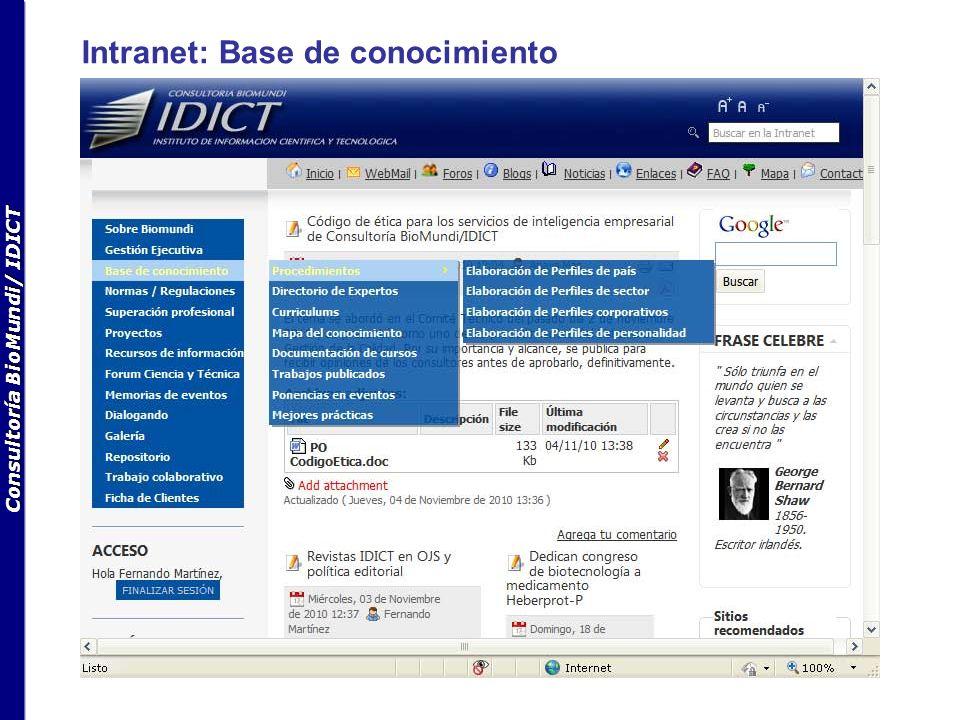 Consultoría BioMundi/ IDICT Intranet: Base de conocimiento
