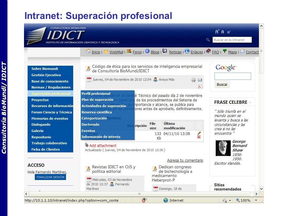 Consultoría BioMundi/ IDICT Intranet: Superación profesional