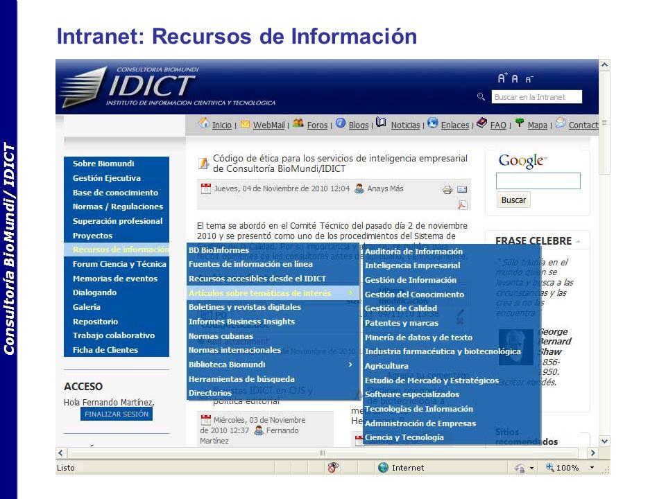 Consultoría BioMundi/ IDICT Intranet: Recursos de Información
