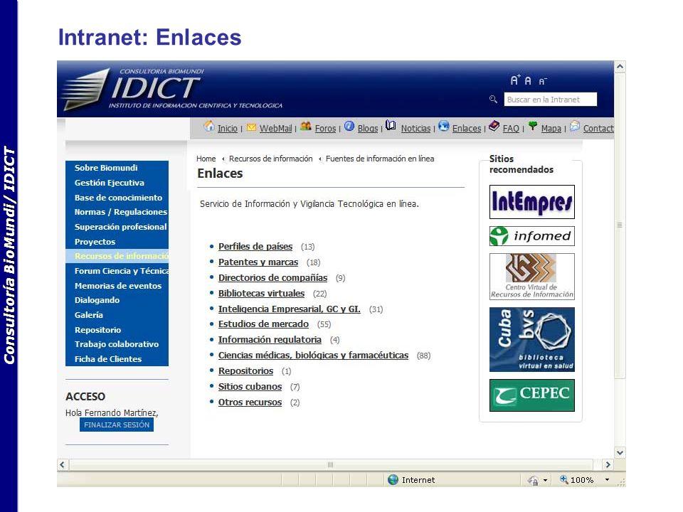 Consultoría BioMundi/ IDICT Intranet: Repositorio